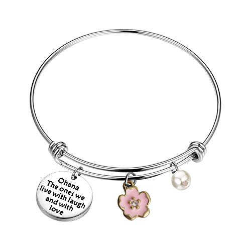 BAUNA Ohana Jewelry for Women Ohana Bracelet Ohana The Ones We Live Love and with Laugh Lilo and Stich Inspired Hibiscus Flower Jewelry (Ohana Bracelet)