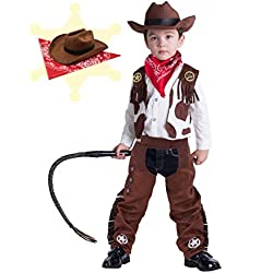 Cowboy Costume Deluxe Set for Kids Halloween Party Dress Up,Role Play and Cosplay (3T)