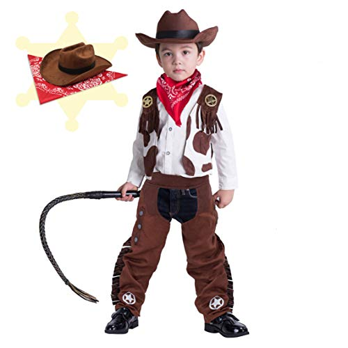 Cowboy Costume Deluxe Set for Kids Halloween Party Dress Up,Role Play and Cosplay (S(5-7yr)) Brown]()