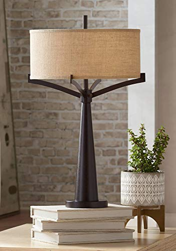 (Tremont Mid Century Modern Table Lamp Rich Bronze Iron Burlap Fabric Drum Shade for Living Room Family Bedroom Bedside - Franklin Iron Works)