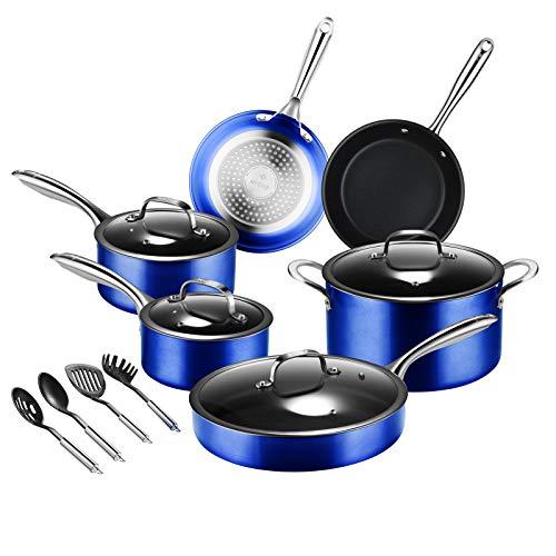 Pots-and-Pans-Set-MVCHIF 14 Pieces Induction Cookware Sets Non Stick Pots and Pans Sets Aluminum PFOA Free Oven Safe…
