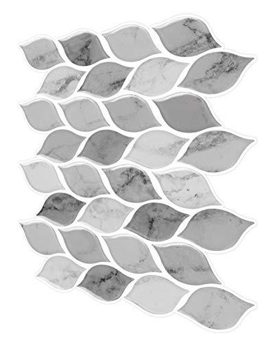 Tic Tac Tiles - Premium Anti Mold Peel and Stick Wall Tile Backsplash in Foglia Design (Grigio, 6) by Tic Tac Tiles (Image #2)