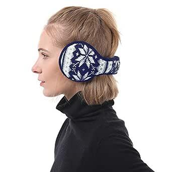 Zando Women Girls Stylish Snowflakes Knitted Ear Muffs Winter Warm Furry Earwarmers Navy One Size