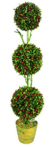 Admired By Nature Artificial 32 Inches Christmas Glitter 3 Ball Topiary Plant in Green, 32