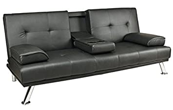 Black Faux Leather Sofa Bed Click Clack Double Settee 2 To 3 Seater