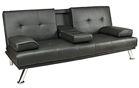 Negro de piel sintética sofá cama Clic Clac doble moderno 2 ...