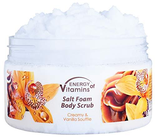 Energy of Vitamins Premium Salt Exfoliating Body Scrub, All Natural Vanilla and Silk Proteins to Exfoliate & Moisturize Skin, 8.4 oz.