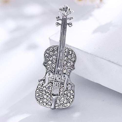OUOK Wedding Party Favor Personalized Gifts for Guests Violin Brooch Bling Crystal Pins Love Lapel Brooches Rhinestone Brooch,Silver (List Of Best Violin Brands)