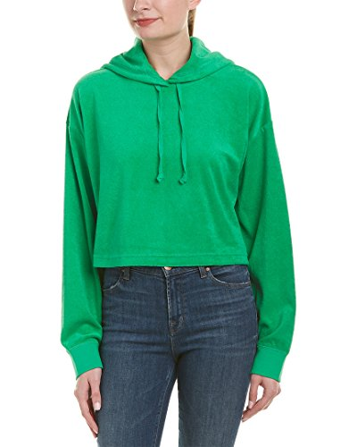Juicy Couture Womens Micro-Terry Hooded Pullover, M, Green (Hooded Terry Juicy Couture)