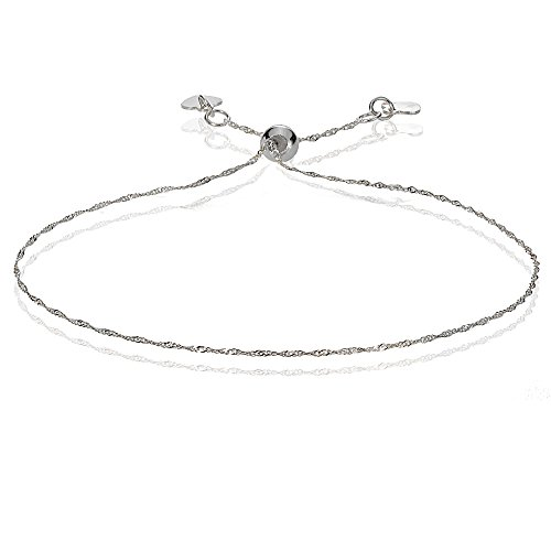 Bria Lou 14k White Gold .9mm Italian Singapore Adjustable Chain Bracelet, 7-9 Inches by Bria Lou