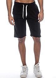 True Rock Men's William Fleece Cell Phone Pocket Shorts-Black-Small