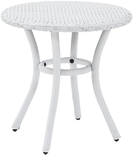 (Crosley Furniture Palm Harbor Outdoor Wicker Round Side Table - White)