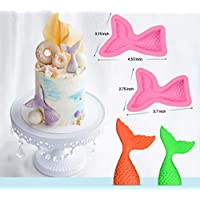 WellieSTR 2 Size Christening Mermaid Tail Silicone Mold Fondant Cupcake Cake Decorating Baking Tools Handmade Soap Mold Fish Fork Tail