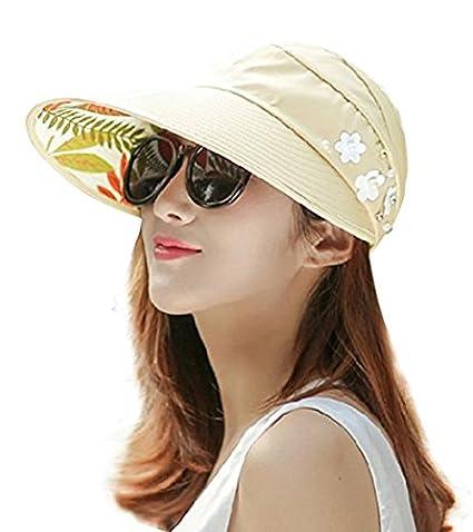 2b99260575c2e0 Wide Brim Sun Hats Summer Beach Visor Cap Anti-UV UPF 50+ Floppy Packable  Hat for Womens (Beige (Flowers)) at Amazon Women's Clothing store: