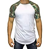 aiNMkm Short Sleeve,Men Casual Summer Camouflage Print Short Sleeve O-Neck Tops Blouse T-Shirt,White,2XL