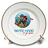 3dRose Alexis Design - Sport Skateboard - Brave Male Skater, a Skateboard. City Windows. Skate Hard or go Home - 8 inch Porcelain Plate (cp_292931_1)