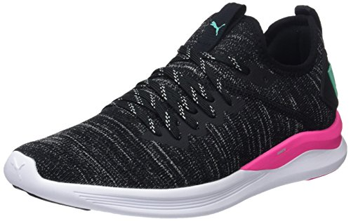 (PUMA Women's Ignite Flash Evoknit WNS, Black-Pink-Biscay Green, 9 US)