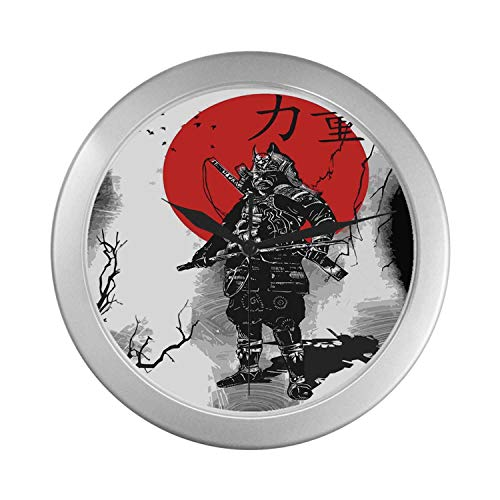 C COABALLA Japanese Simple Silver Color Wall Clock,Portrait of Skilled Educated Aristocrat Ancient Knight with Weapon Man of War Image for Home Office,9.65