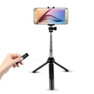 Cyber Cart Bluetooth Selfie Stick with Remote Shutter and Tripod Stand, 270 Degree Rotatable Alloy Extendable Monopod Pole 7.5 to 35.4 inches