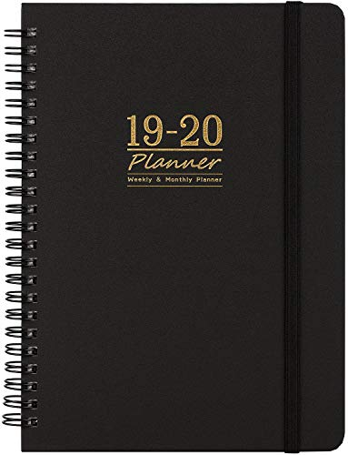 2019-2020 Academic Planner - 12 Month Calendar with Monthly Tabs, July 2019 - June 2020, Flexible Cover with Twin-Wire Binding, Banded, 6.5
