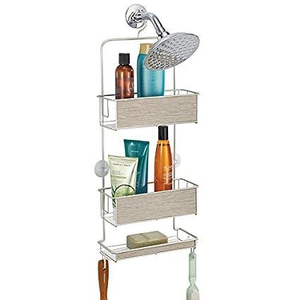 mDesign étagère de douche à suspendre – panier rangement sans perçage –  accessoire de rangement avec étages et crochets pour vos shampooings, vos  ...