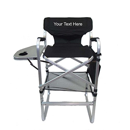 PERSONALIZED IMPRINTED Aluminum 30'' Bar Height Directors Chair with Table & Side Bag by Pacific Imports