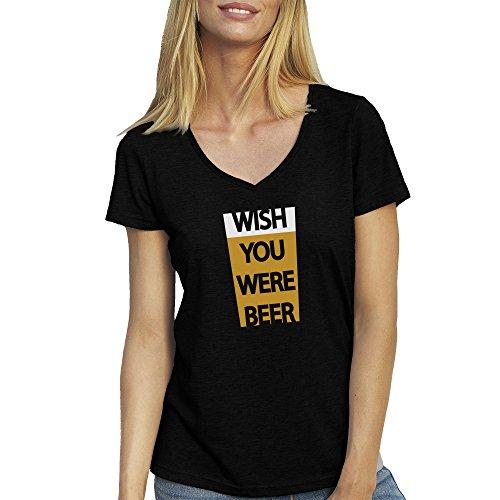 Beer Love Crazzy T-Shirt camiseta Cuello V para la Mujer Negro