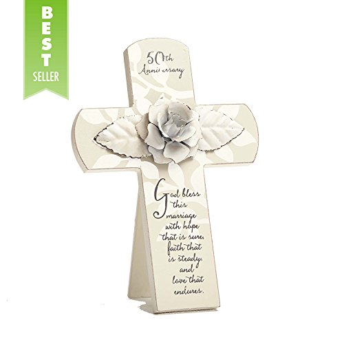 Enesco This is the Day by Gregg Gift 50th Anniversary Rose Whitewash Cross Wall Décor, 7