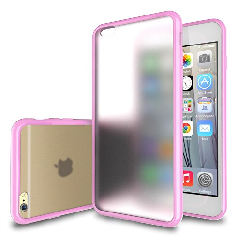 iPhone 6 Plus Case - TekSonic [Candy Series] iPhone 6 Plus Case (5.5) Frosted Clear/Light-Pink Hybrid Back Cover Case with New Vibrant TPU Color Border for iPhone 6 Plus (5.5 inch) (Baby Pink) (Pink Border Baby)