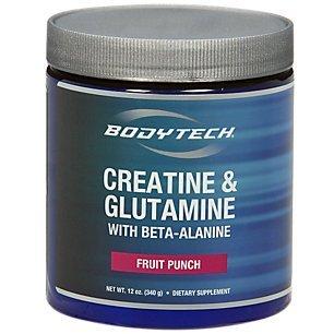 BodyTech Creatine and Glutamine w Beta Alanine Fruit Punch 12 oz Powder