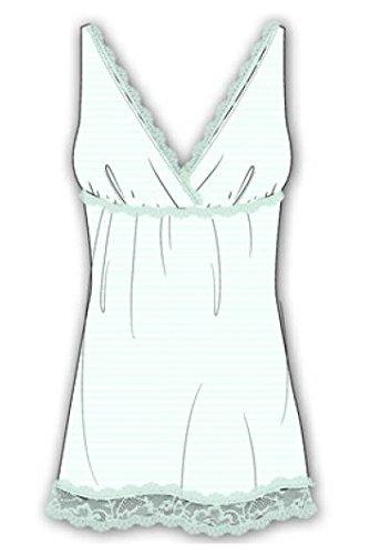 LAMAZE Intimates Women's Maternity Sleeveless Lace Trim V-Neck Chemise Striped Nightgown Mint ()
