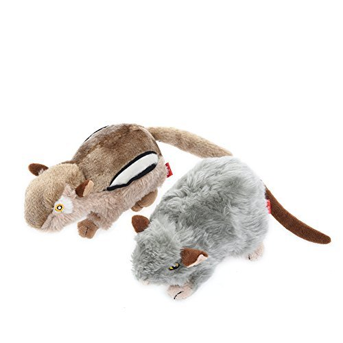 Petacc Dog Squeaky Toys Squirrel and Mouse Toy for Pets Cute Plush Toys, 2 in 1