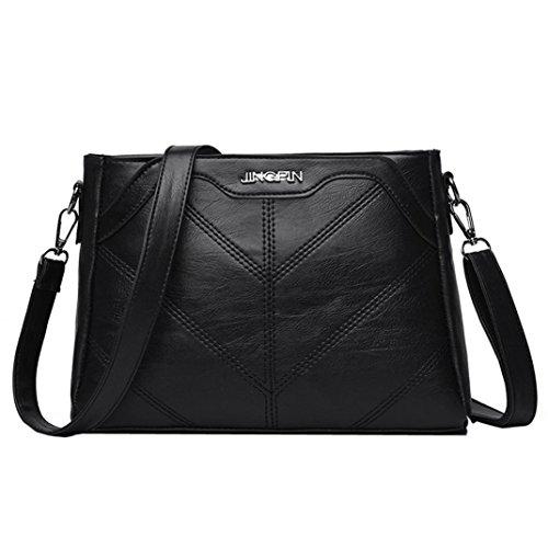 YJYDADA Fashion Women Pure color Leather Crossbody Bags Messenger Shoulder Bag (Black)