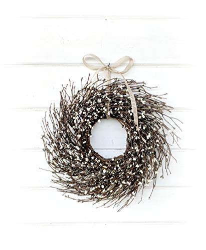 Mini Wreath-Window Wreath-Spring Wreath-Summer Wreath-Gray& Cream Wreath-Twig Wreath, Farmhouse Wreath, Farmhouse Decor, Gift, Door Wreath, Housewarming Gift, Coastal Beach - Gray Wreath