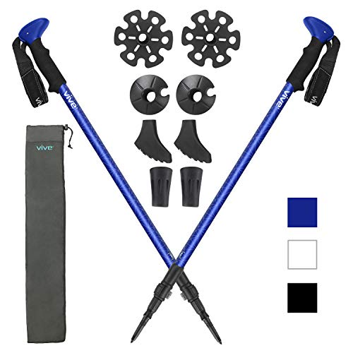 Vive Anti Shock Trekking Poles (Pair) - Collapsible Hiking Sticks - Ultralight Antishock Trek Walking Staff - Rubber Ice Snow Tip - Running, Walking Cane for Men, Women - Backpack and Camping Gear