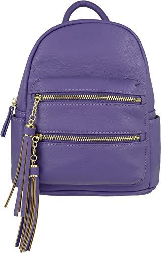 (B BRENTANO Vegan Multi-Zipper Top Handle Mini Backpack with Tassel Accents (Ultra-Violet))