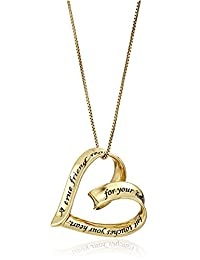 """Sterling Silver """"A True Friend Reaches For Your Hand But Touches Your Heart"""" Open Heart Pendant Necklace, 18"""""""