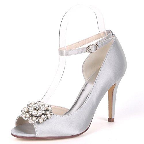 L@YC Women Bridal Beading Wedding Shoes Peep Toe Satin Buckle Pumps 9cm Heel Rhinestones Evening Silver 1WyeLh