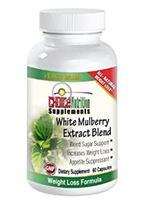 White Mulberry Extract Blend - with Garcinia Cambogia, Green Coffee Bean, African Mango, and Cinnamon - Supports Healthy Blood Sugar Levels, Suppresses Appetite, Supports Weight Loss - 60 Capsules - 30-day Supply - 100% Customer Satisfaction Guaranteed*