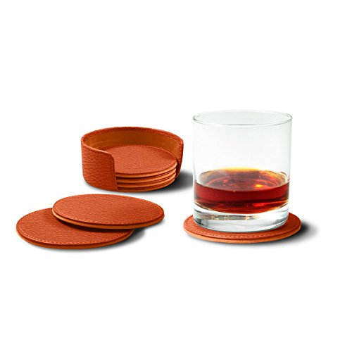 Lucrin - Set of 6 Round Real Leather Coasters with Coaster Holder - Orange - Granulated Leather by Lucrin