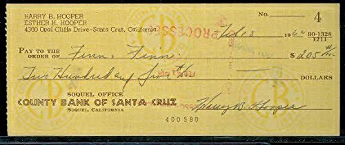 Harry Hooper Autograph Personal Check JSA Signed Autograph