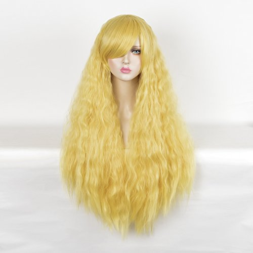 SiYi Long Curly Wavy Wig Afro Kinky Curly Synthetic Heat Resistant Hair Wigs Full Yellow Costume Wigs for Women (Homemade Costumes With Tights)