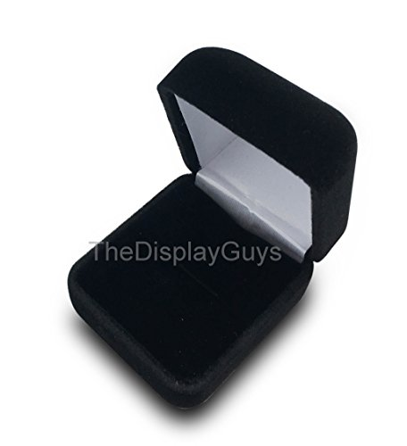 Velvet Gift Box (The Display Guys Deluxe Velvet Metal Gift Jewelry Box Presentation Display Metal Hinge, Comes With White Two Piece Packer (2 1/8x1 7/8x1 1/2 Inches For pendant earring, Black))