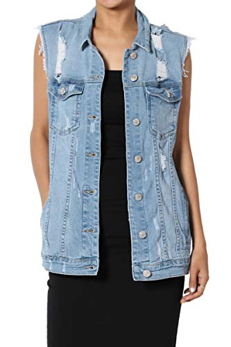 TheMogan Women's Trucker Distressed Washed Oversized Boyfriend Denim Vest Light S (Swat Vest For Women)