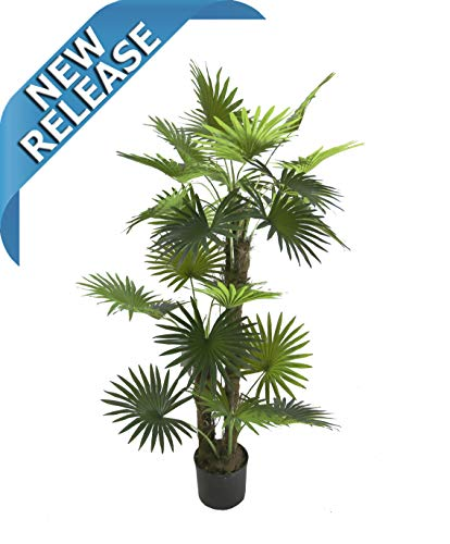 - AMERIQUE Gorgeous 5' Tropical Fan Palm Arecaceae Tree Artificial Silk Plant with UV Protection, with Nursery Plastic Pot, Feel Real Technology, Super Quality, 5 Feet Green