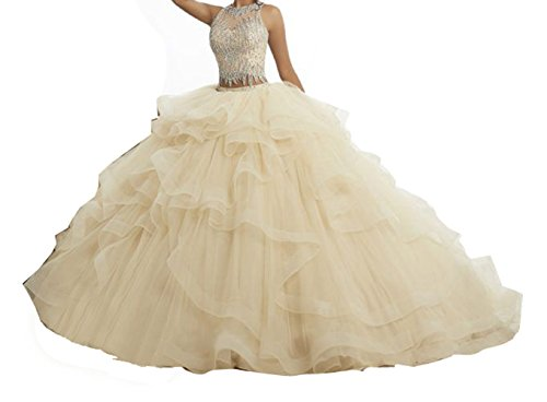 Gown Quinceanera New (Yang Women Two Pieces Ball Gowns Beaded Girls New Quinceanera Dresses 6 US Beige)