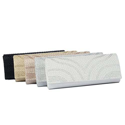 Pearl Clutch Golden Party Patterned Over Handbag Bag LOOSLOON Dazzling Flap Womens Purse Evening Y7BEqE