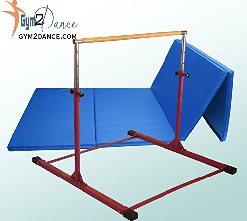 Combo Gymnastics Bar Adjustable 3′ to 5′ Model DX, and 8′ X 4′ X 2″ Thick Blue Mat by Gym2dance