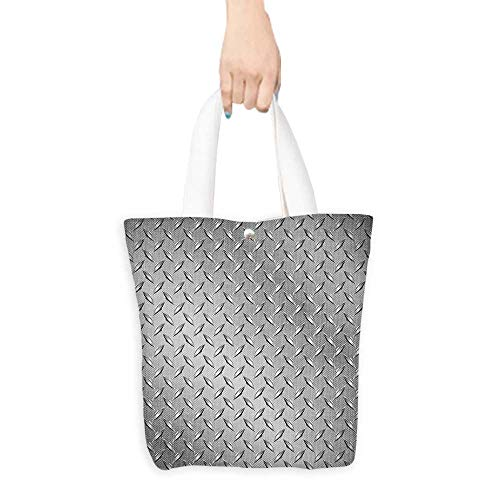 Custom Shoulder BagsCross Wire Fence Netting Display with Diamond Plate Effects Chrome Kitsch Motif Silver Birthday Present Gift W16.5 x H14 x D7 INCH ()
