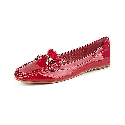 d8a9062af4cc PDX femme Chaussures Talon Plat Confort Bout carré Bout fermé Chaussures  plates décontracté Noir rose rouge gris imprimé animal